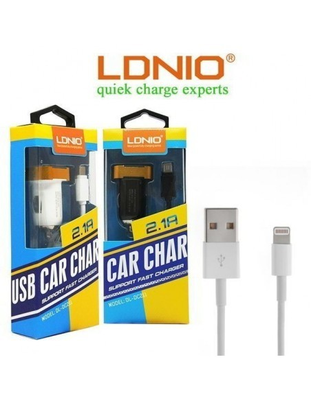 Автомобильное зарядное устройство LDNIO DL-DC211 2.1A, кабель 8