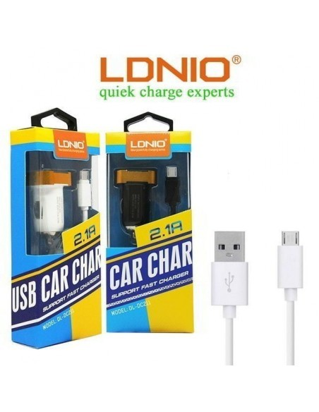 Автомобильное зарядное устройство LDNIO DL-DC211 2.1A, кабель микро USB, черный